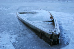 Wooden boat into the river ice Royalty Free Stock Photos