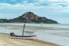 Wooden boat on the sand The seaside at Suan Pradipat. stock image