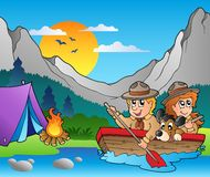 Wooden boat with scouts near camp. Illustration Royalty Free Stock Images