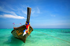 Wooden boat in the sea. At bamboo island , Thailand Stock Photo
