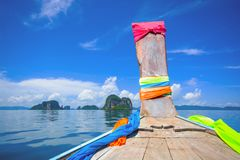 ANCIENT BOAT DURING SEA JOURNEY IN SUNNY DAY Royalty Free Stock Photos