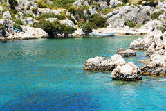 The wooden boat at seashore in Kekova Stock Images