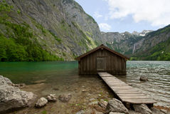 Wooden Boat Shed in Obersee. Wooden Boat Shed at edge of Obersee, Germany Royalty Free Stock Photo