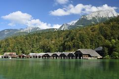 Wooden Boat Sheds on Konigssee royalty free stock image