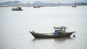 Wooden boat and ship in the sea. And ocean stock video