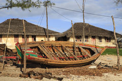 Wooden Boat. In a state of repair on the Island of Mozambique (Portuguese: Ilha de Moçambique Stock Photo