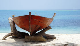 Wooden Boat On Sunny Beach Royalty Free Stock Photo