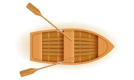 Wooden Boat Top View Vector Illustration Royalty Free Stock Photo