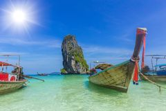 Wooden boat for tourist in Thailand sea travel Phiphi Phuket krabi island. In summer season concept Royalty Free Stock Photos