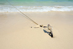 Wooden boat on the tropical beach Stock Photography