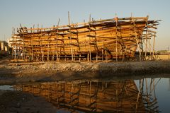 Wooden boat under construction Stock Photos