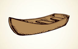 Wooden Boat Vector Drawing Old Simple Empty Rough Ski Skiff On White Backdrop