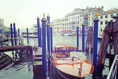 Wooden boat in Venice, Italy Stock Photos