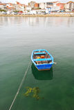 Wooden boat in water on Bay of Biscay Royalty Free Stock Photography