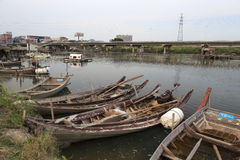Wooden boat in the water village Royalty Free Stock Photography