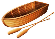 Wooden boat on white. Illustration Stock Photo