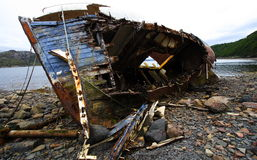 Wooden boat wreckage Stock Image