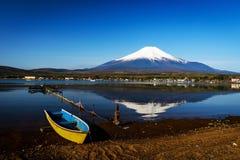 Wooden boat on Yamanaka lake. With Mt. Fuji view, Yamanashi, Japan Stock Image