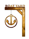 Wooden boat yard sign. Royalty Free Stock Photo