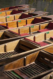 Wooden Boats. Punting boats ready for hire in Cambridge, England, UK Stock Photo