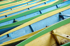 Wooden boats. Pattern rows of colorful wooden boats Royalty Free Stock Photo