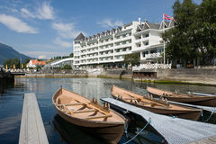 Wooden Boats. Outside a fjord hotel in Hardanger, Norway stock images