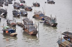 Wooden boats in the bay Stock Photography