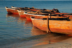 Wooden boats on beach Royalty Free Stock Photo