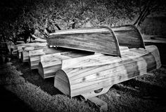 Wooden boats bottom-up drying Royalty Free Stock Photo