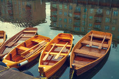 Wooden boats on the canal Stock Image