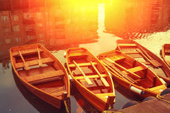 Wooden boats on the canal Royalty Free Stock Photography