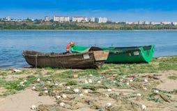 Wooden boats at Danube shore Royalty Free Stock Photos