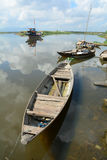 Wooden boats docking on Mekong river in southern Vietnam Stock Photography