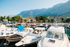 Wooden boats and fishing boats in Makarska. Croatia Royalty Free Stock Photo