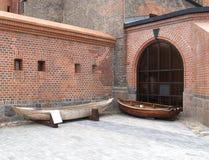 Wooden boats in Fridrikhsburgsky gate. Kaliningrad, Russia Royalty Free Stock Image