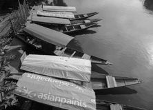 Wooden boats on Ganges river in Varanasi, India Royalty Free Stock Images