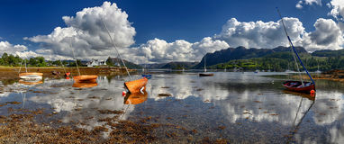 Wooden boats in the Harbour of Plockton (Highlands, Scotland) Royalty Free Stock Photo