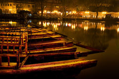 Wooden Boats Houhaid Lake Night Beijing China Royalty Free Stock Images