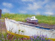 Wooden boats impressionism. Old wooden boats with impressionistic effect vector illustration