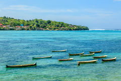 Wooden boats in the Indian Ocean near Nusa Lembongan, Indonesia. Wooden boats in the Indian Ocean, Nusa Lembongan, Indonesia Royalty Free Stock Photos