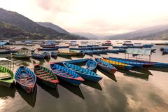 WOODEN BOATS IN LAKE stock photos