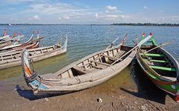 The wooden boats in lake Stock Image