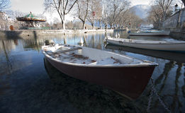 Wooden Boats line the Thiou Canal. During the Winter, Annecy lake, France Royalty Free Stock Photo