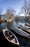 Wooden Boats line the Thiou Canal Stock Image