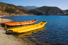 Wooden boats in the Lugu lake Stock Image