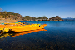 Wooden boats in the Lugu lake Stock Images