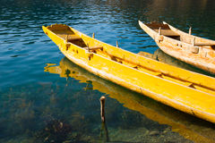 Wooden boats in the Lugu lake Stock Photo