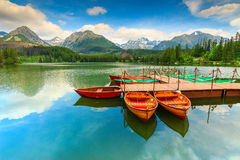 Wooden boats on the mountain lake,Strbske Pleso,Slovakia,Europe Royalty Free Stock Photos