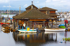 Free Wooden Boats Museum On The Lake Union. Stock Photography - 69641402