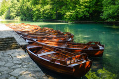 Wooden Boats on Plitvice Lakes Stock Photo